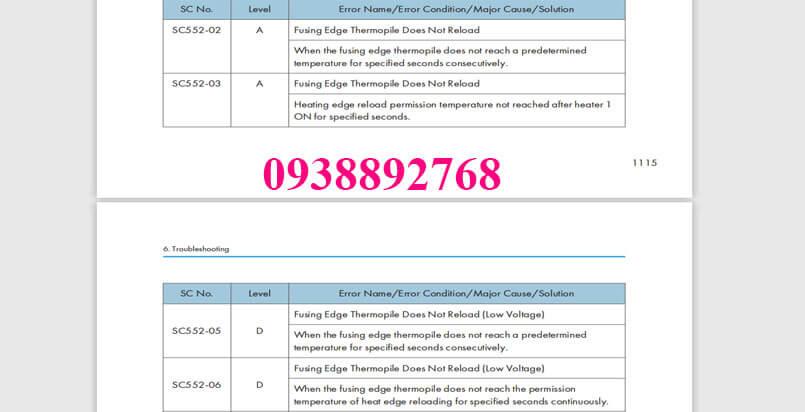 Các cách khắc phục và sửa chữa lỗi sc554, 553, 552, 555 trên máy photocopy RICOH mp 4054, 5054, 3554