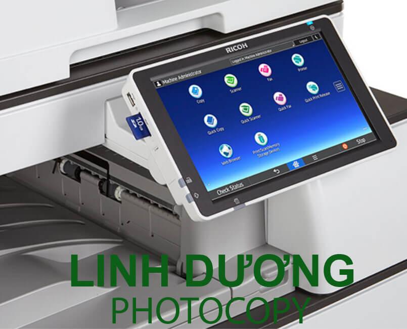 Ricoh mp 4055 sở hữu màn hình thông minh có thể in qua thẻ in SD